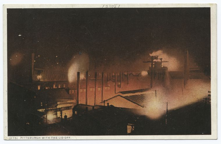 """The Miriam and Ira D. Wallach Division of Art, Prints and Photographs: Photography Collection, The New York Public Library. """"Pittsburgh with the Lid Off, Pittsburgh, Pa."""" The New York Public Library Digital Collections. 1898 - 1931."""